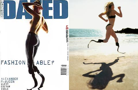 Aimee Mullins en couverture de Dazed and Confused