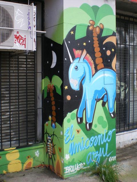 Street art à Séville - licorne bleue